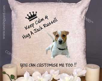 "Luxury Personalised 18"" Chenille Cushion & Pad Keep Calm And Hug A Jack Russell Birthday Gift"