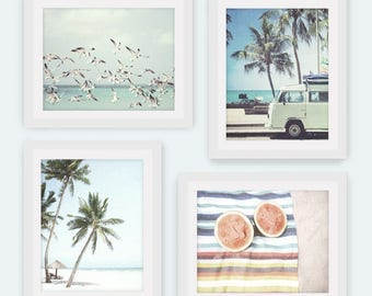 Art Print, Set of 4, Beach Print, Beach Decor, Boho Decor, Beach Print, Summer Photography, Beach Life, Coastal, Summer Decor, Palm Trees
