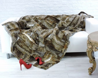 Luxury genuine rabbit fur throw, blanket, natural colour, 200cm x 140cm, i814