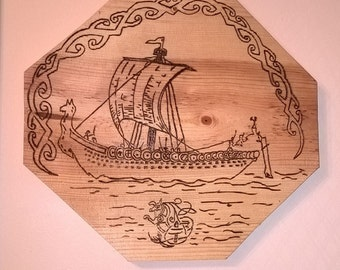 Norse Viking Ship, Woodburning, hanging wooden picture, Rustic, Hand drawn and burned