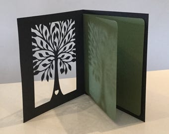 Papercut Tree Heart Valentine Love Anniversary Birthday Mothers Day Engagement Wedding Marriage or General Card Art Gift Present
