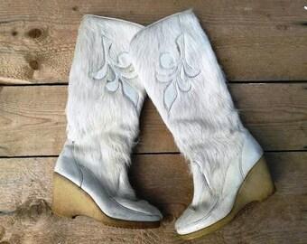 vintage fur boots apres ski boots platform wedges rubber soles size eu 35 uk 2 1960