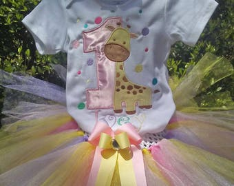Giraffe Pastel  1st Birthday Outfit Onesie Tutu FREE Hair Bow Personalized Pink Yellow