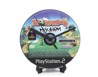 Worms 4 Mayhem PlayStation 2 PS2 Upcycled CD Clock Video Game Collectable Gift Idea