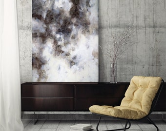"Large Abstract Painting abstract art canvas art fine art print wall art canvas gray black white brown neutral modern art, ""Highlandia 2"""