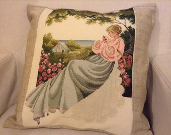 Pillow embroidered with young lady