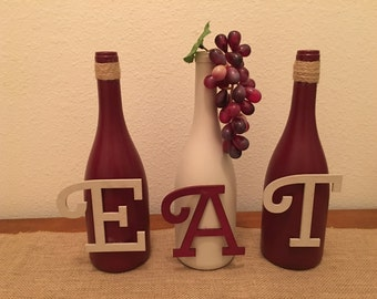EAT Wine Bottle Home Decor with Grapes