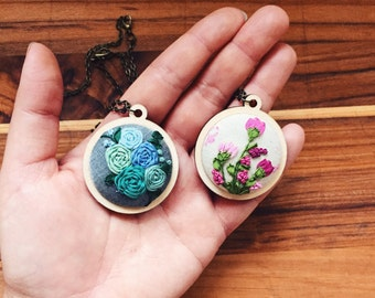Pendant Necklace. Hand Embroidered Floral Necklace. Tulip embroidered pendant necklace. Mini Embroidery Hoop. Girlfriend Gift. Gift for Wife