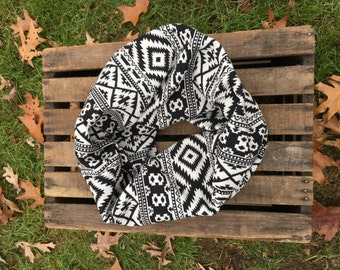 White and Black Aztec Infinity Scarf