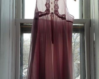 Vintage 1960s Gossard Artemis Violet Mauve Nylon Babydoll Nightie Chemise, Medium