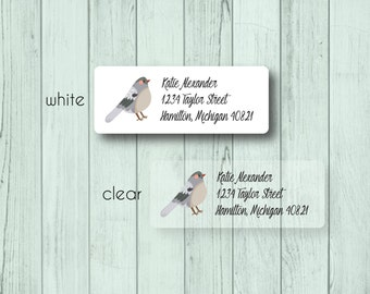 Bird Address Labels - Custom Return Address Mailing Labels - Animal - Bird Labels - Matte White, Kraft, or Clear Gloss