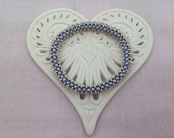 Lilac pearl and Silver Bead hand woven roll on Bangle bracelet