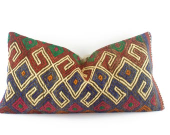 Kilim Lumbar Pillow Blue Turkish Kilim Pillow Decorative Pillow 12X24 lumbar sofa throw pillow couch cushion Tribal Kilim pillow for sofa