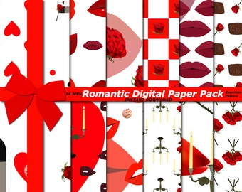 70% OFF SALE Romantic Digital Paper Pack, Love Paper, Lips Paper pack, Red and white Paper Pack