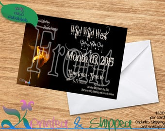 Wild West Girls Night Out Invitation; Postcard; PDF; E-Card