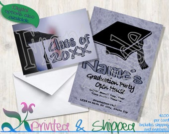 Graduation Cap Invitation; Folded Card; Postcard; PDF; E-Card