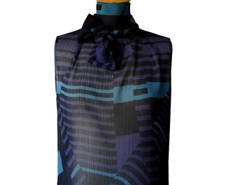 Top tie chiffon printed graphic Elane