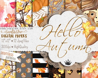 Autumn Fall Digital Paper: Watercolor Seamless Pattern, autumn background, leaf digital paper, fall background, squirrel, leaves, printable