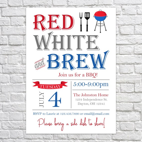 Red White and Brew Invitation 4th of July