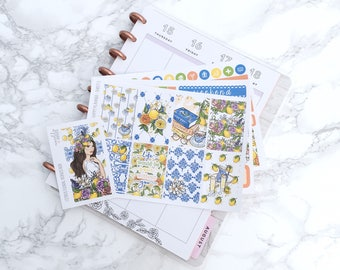 MATTE Classic HP Citrus Floral Planner Sticker Kit (3 Sheets) & FREE Bonus Box Girl Sticker - For Classic Happy Planners