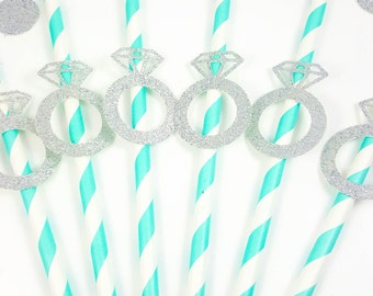 Diamond Ring Paper Straws, Breakfast At Tiffanys Bridal Shower, Engagement Party Decor, She Said Yes, Bachelorette Party, Party Straws