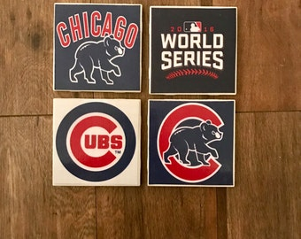 Chicago Cubs Coasters- Set of 4