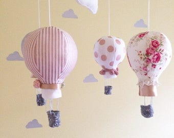 Hot air balloon baby mobile- Rose gold nursery mobile- Cot mobile- Nursery mobile- Baby girl mobile-Rose gold nursery- floral crib mobile