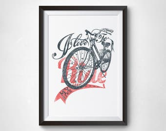 I love to ride my bike wall art,inspirational poster