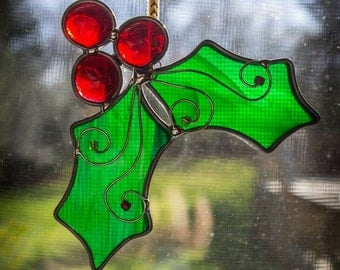 Stained Glass Holly Ornament
