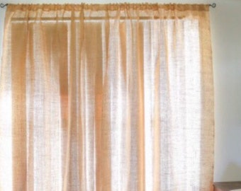 burlap window treatment, curtain panle, Burlap curtain, curtains, burlap, drapes, drapery, rustic decor, home decor, custom sizes available