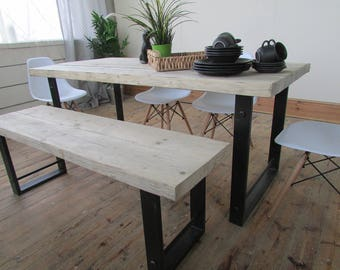 Warfedale chunky reclaimed timber and metal framed table and bench set with 4 (optional) Eiffel chairs