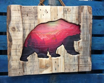Sunset Mountains Grizzly Bear Wooden Art Hand made