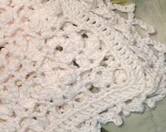 Crocheted flowery baby afghan