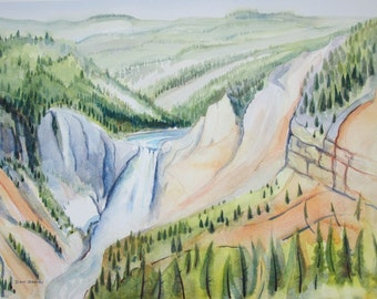 Original Watercolor Sketch, Upper Falls, Yellowstone River, Yellowstone National Park, USA