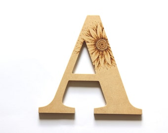 Large Wooden Letters (Sunflower Woodburning)
