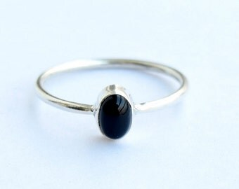 Black  ring, Sterling Silver Ring, 925 Sterling Silver, Silver Ring