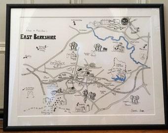 Hand-drawn Personalised Map, Bespoke Illustrated Map, Personalised Map