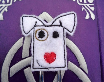 White Love Puppy - Jumbo Clip - PaperClip - Felt Planner Clip - Planner Accessory - Stationery - Cute Paper Clip - Bookmark - Planner Clip