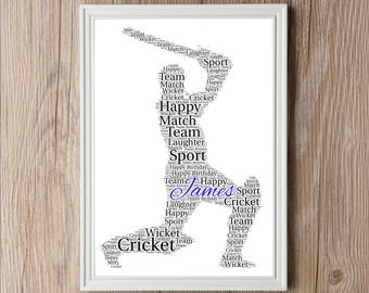 Personalised Fathers Day CRICKET Word Art Print Gift Worlds Best Dad Daddy Birthdays