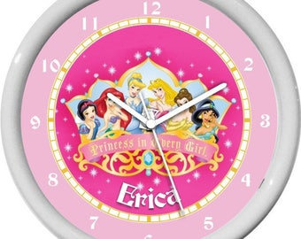 Princess Snow White, Ariel, Cinderlla, Aurora, Belle, Jasmine Nursery Children Wall Clock
