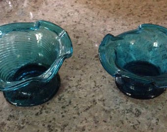 Two Rare Antique Mid-Century Avalos Hand Blown Torquoise Optic Swirl Mexican Glass Condiment Nut Candy Bowls Rough Pontil Mark