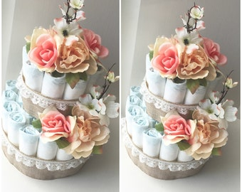 Three-Tier Floral Diaper Cake Baby Shower Centerpieces