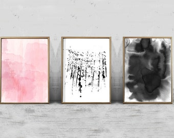 Set of 3 Abstract Watercolor Prints Pink Gray Wall Art Minimalist Painting Paint Splatter Brush Strokes Modern art Printable Black and White