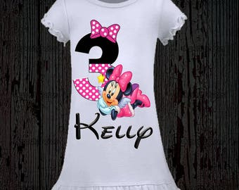 Minnie Mouse Birthday Shirt - Minnie Birthday Shirt - Dress Available