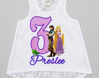 Rapunzel Birthday Shirt - Tangled Birthday Shirt - Tank Top Available