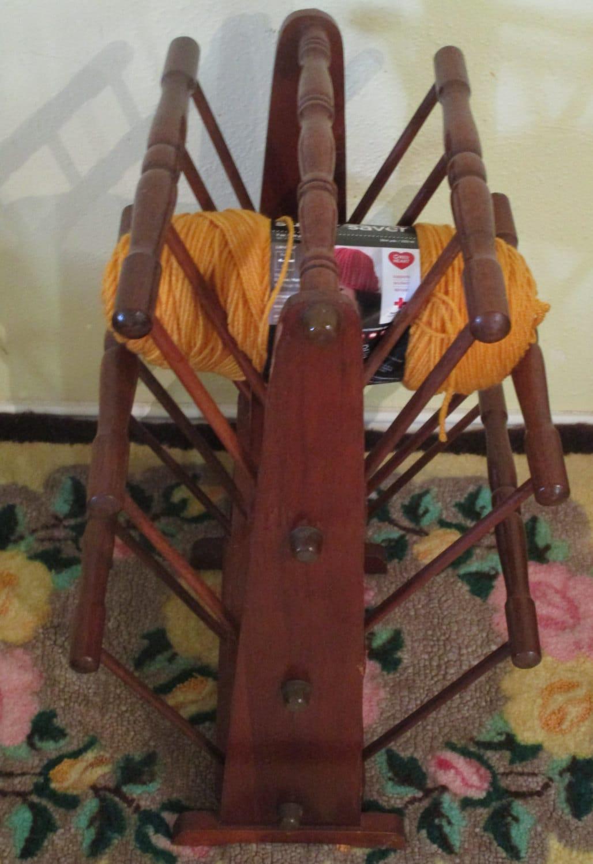Wooden Knitting Wool Holder : Vintage wooden knitting stand yarn skein rack magazine holder