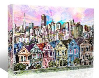 San Francisco Painting, Skyline Canvas, SF Painting