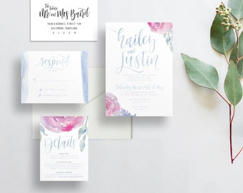 soft floral wedding invites // periwinkle blue pink watercolor invitations // calligraphy // brush lettering // printable // custom invites