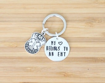 hand stamped keychain | my heart belongs to an emt