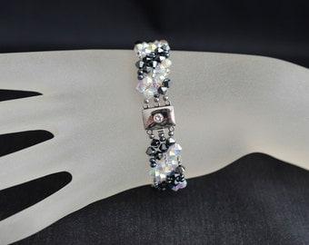 Swarovski crystal cuff bracelet and crystal hematite 2x ab2x